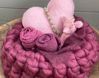 Wool Basket Newborn Photography Berry /Bordeaux
