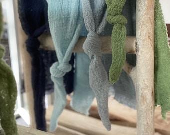 Fringe cap made of gauze / cotton newborn photography