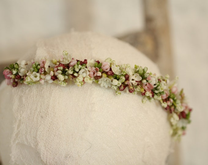 Featured listing image: delicate forehead wreath elastic/jersey newbornphoto