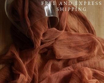 Terracotta gauze table runner wedding, Rustic tablecloth, Centerpiece for runner