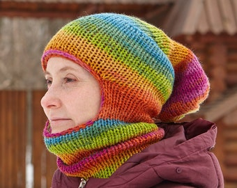 Knitted Balaclava Knit Face Mask Fashion Autumn Spring Summer Hat Crochet Wool Hood Hiking Ski Men Women Unisex Handmade Marble Blue Beige