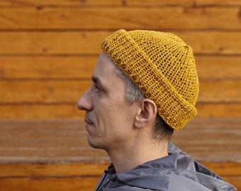 Fisherman Mustard Yellow Cotton Knitted Brim Hat Handmade Shipster Beanie Mens Shallow Fit Knit Short Street Style Docker Navy Snug Trawler
