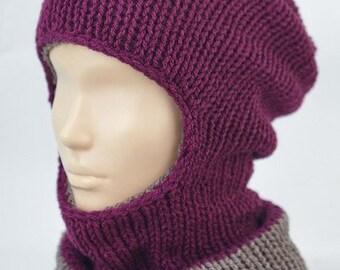 Handmade Green Red Purple Knitted Knit Slouchy Hat Autumn Spring Crochet Multi Coloured Motley Beanie Men Women Unisex Bohemian Oversized