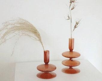 Unique Dark Amber Glass Candle Holder/ Decorative Glass Candlestick in Amber Color/ Home decor gift idea