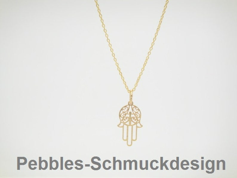 Hamsa delicate necklace 925 gold plated image 0