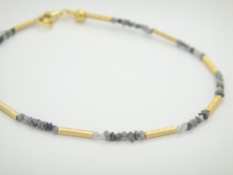 Diamond bracelet classy bracelet of silver and grey rough diamonds /& 925 silver gold plated