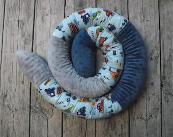 Bettrolle Bettschlange Nestchen Lagerungskissen MINKY Fleece versch.Farben 1-3m