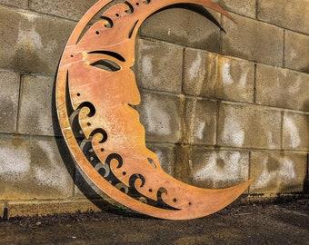 Crescent Moon Wall Decor - Rustic Wall Decor - Metal Wall Art - Metal Sign - Rustic Moon