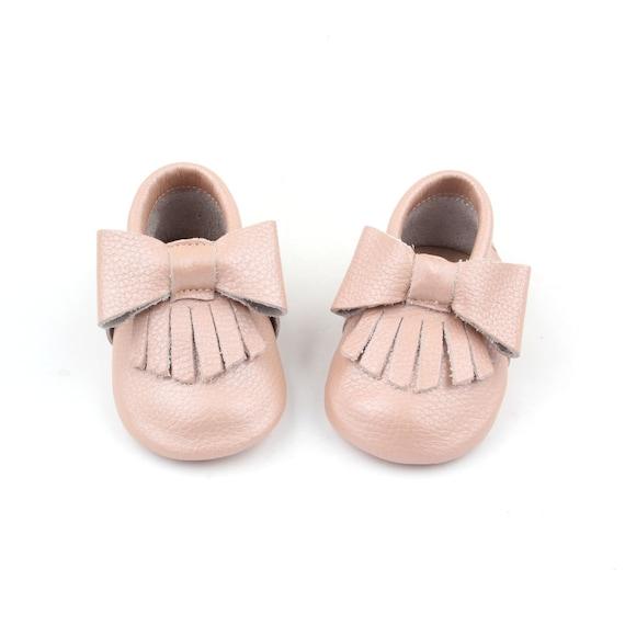 Pearl Pink Baby Moccasins Anti-Slip