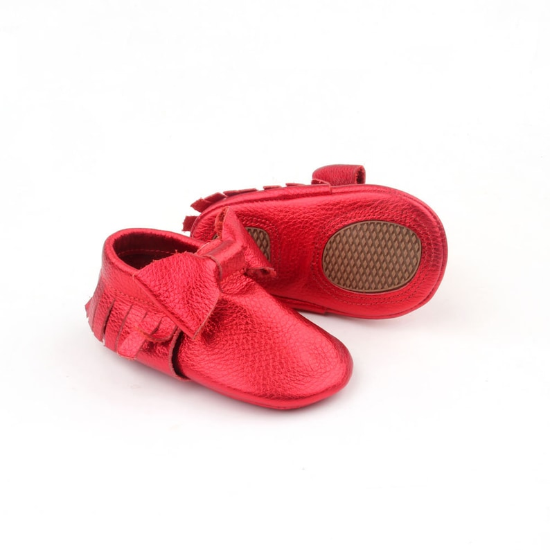 6e7f83ac53bc9 Baby Moccasins baby shoes in Metallic Red baby leather