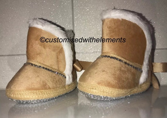 Baby Bling Crystal Sheepskin Style Snowboots 06 Months Perfect For Christmas!