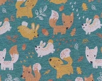 Sweat fabric foxes rabbits, dark mint