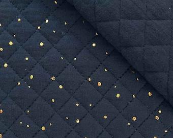 Quilted muslin golden dots padded, dark blue