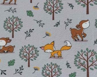 Jersey fabric Foxes Deer trees, light grey