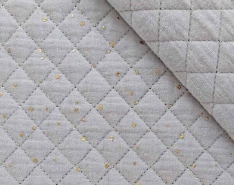Quilted muslin golden dots padded, light grey