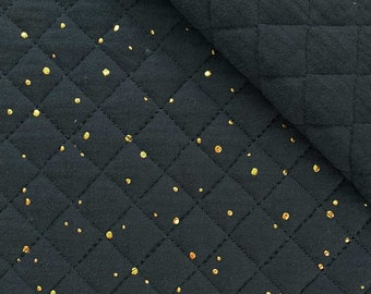 Quilted muslin golden dots padded, black