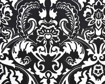 Dekostoff Ornamente Ranken Schwarz Weiss