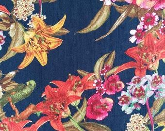 Viscous crepe fabric flowers, dark blue