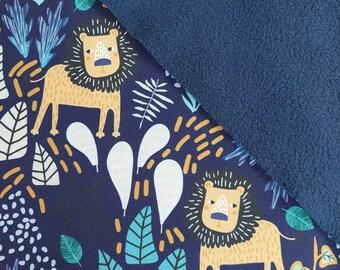Softshell Fabric Jacket Fabric Lion Leaves, dark blue