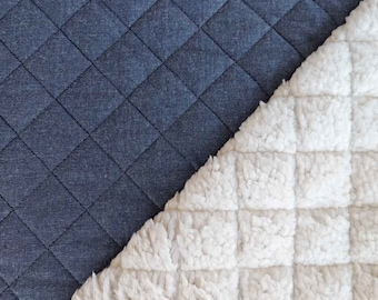 Jean fabric Teddy fur Quilted double face can be used on both sides, cream white dark blue