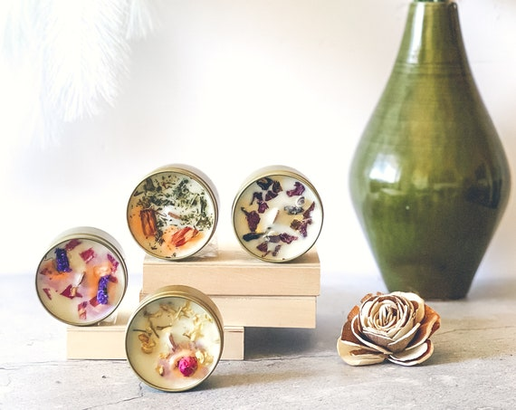 LUXY'S FINEST 4-Piece Discovery Collection: Embellished Mini's Custom Fragranced Soy Wooden Wick Candles 4 oz. ea. Comes In A Gift Box