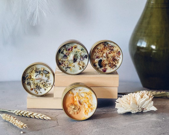 NATURE 4-Piece Soy Wax With Crackling Wooden Wick Embellished Mini's Custom Candles Set A Great Set For Nature & Candle Lovers