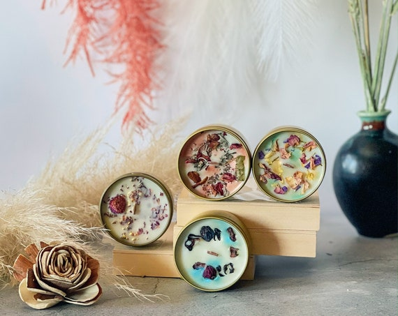 TWILIGHT BOX  4-Piece  Discovery Collection: Embellished Mini's Custom Fragranced Soy Wooden Wick Candles 4 oz. ea. Comes In A Gift Box