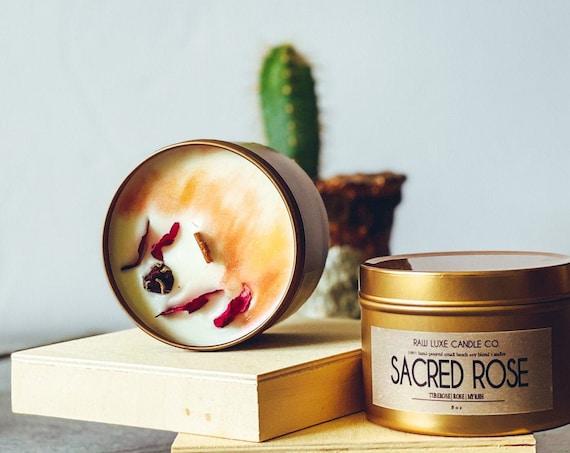 SACRED ROSE: (Rose, Delicate, Earthy) (Tuberose, Rose, Myrrh)  8 oz. Gold Tin & Crackling Wood Wick Embellished Hand-Poured Soy Candle