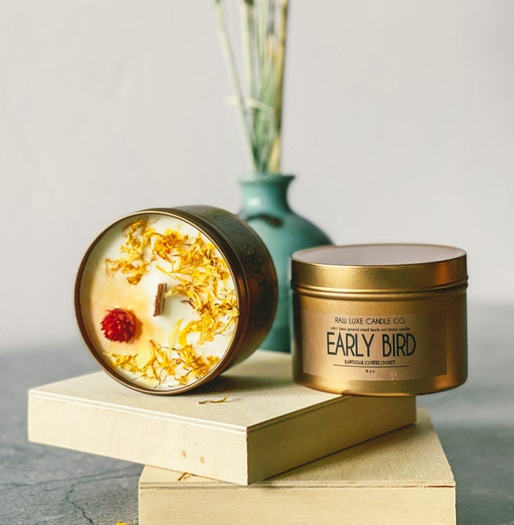 EARLY BIRD: (Happy, Warm, Fresh) (Raw Sugar, Coffee, Donut)  8 oz. Gold Tin & Crackling Wood Wick Embellished Hand-Poured Soy Candle
