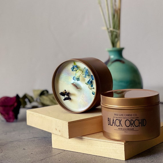 BLACK ORCHID: (Earthy, Exotic, Smooth) (Bamboo, Orchid, Patchouli)  8 oz. Gold Tin & Crackling Wood Wick Embellished Hand-Poured Soy Candle