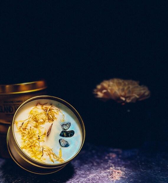 ISLAND HOLIDAY: (Citrus, Fresh, Coconut) (Coconut Creme, Palo Santo, Sea Salt)  8 oz. Gold Tin & Crackling Wood Wick Soy Candle w/ Abalone
