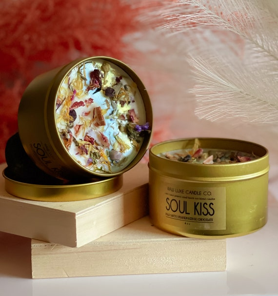 SOUL KISS: (Spicy, Warm, Exotic, Musky) (Palo Santo, Frankincense, Chocolate) Soy Candle 8oz. Gold Tin & Crackling Wood Wick Soy Candle