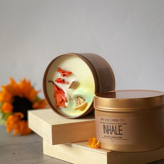 INHALE: (Fresh, Citrus, Green) (Lemon, Mint, Cedar, Jasmin)  8 oz. Gold Tin & Crackling Wood Wick Embellished Hand-Poured Soy Candle
