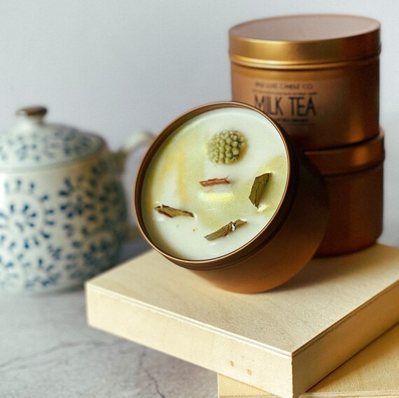 MILK TEA: (Earthy, Warm, Spicy) (Black Tea, Oat Milk, Cinnamon)  8 oz. Gold Tin & Crackling Wood Wick Embellished Hand-Poured Soy Candle
