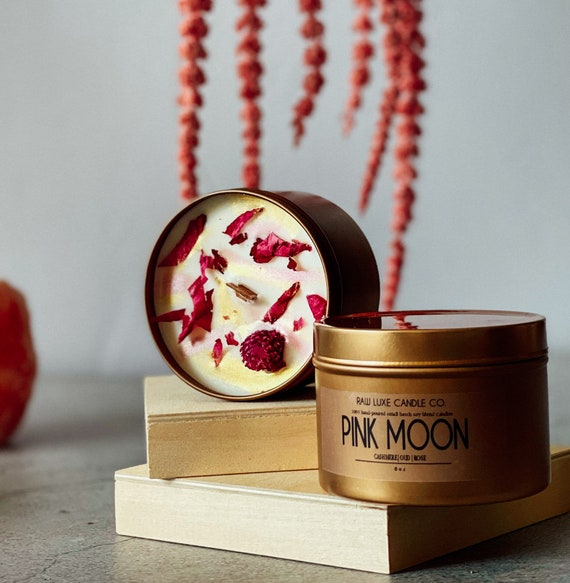 PINK MOON: (Floral, Delicate, Musky) (Cashmere, Tuberose, Oud)  8 oz. Gold Tin & Crackling Wood Wick Embellished Hand-Poured Soy Candle