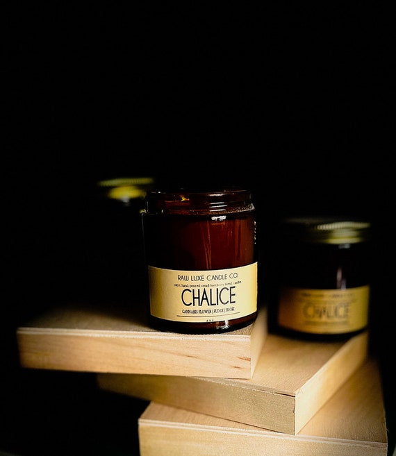 CHALICE: (Warm, Spicy, Earthy) (Cannabis Flower, Fudge, Smoke)  4 oz. Apothecary Glass & Crackling Wood Wick Soy Candle