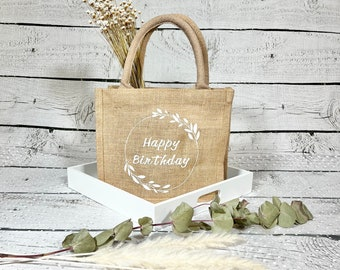 Jutetäschchen - specially personalized for you with name / saying and laurel wreath - here: Happy Birthday