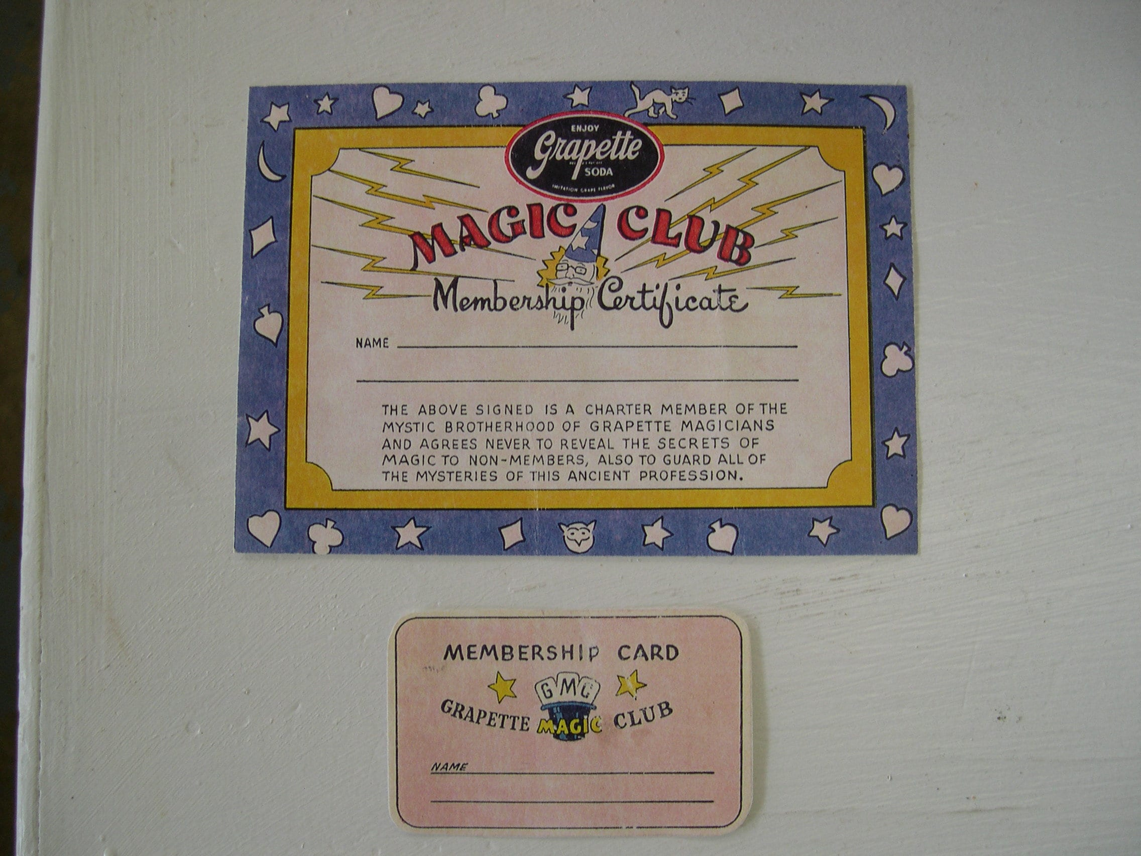 Vintage Grapette Magic Club Membership Certificate