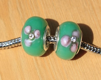 5 Antiksilber Charm European Perlen Beads Beige Acryl 11x9.5mm