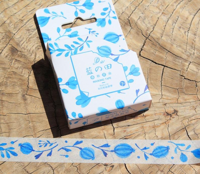 Washi Masking Tape-* Blue flowers 15 mm x 7 m