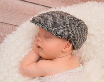 newsboy cap für Babys und Kinder,  handgefertigte Tweedmütze z.B. für Neugeborenenfotografie