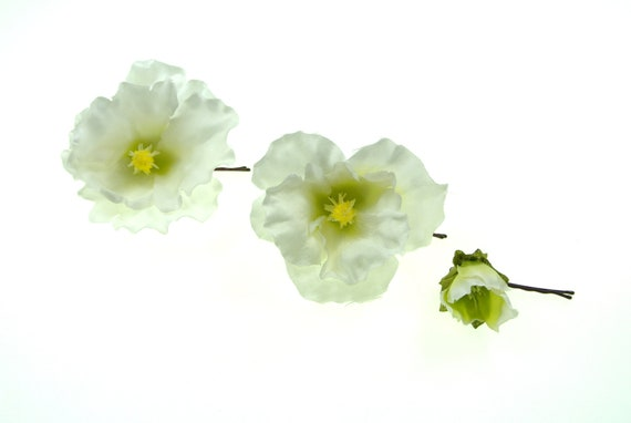 Blumen Haarnadeln Blüte weiß Hochzeit Braut Haarschmuck Brautschmuck Haarpin