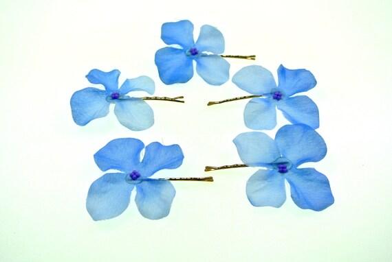 clarigo Haarnadeln Haarklammern Haarklemme Hortensie Veilchen blau Kommunion Blumen Blumenm/ädchen