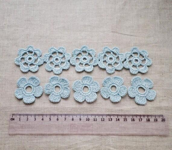 Set von 10 häkeln Blumenmotiven blauer blumeapplique Irish