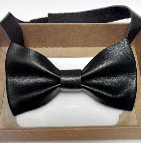 Leather Bow Tie Wedding Bow Tie Black Personalized Bow Tie