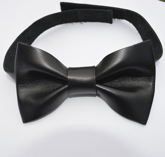 black REAL LEATHER bow tie