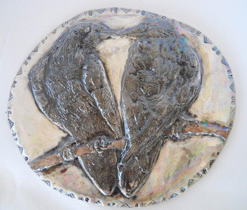 Bird Art Pair of Ravens Spirit Animal Bohemian Home Decor Ceramic Raven  Tile 9 x 10 Nature Lovers Gift Edgar Allen Poe Reader Raven Kiss