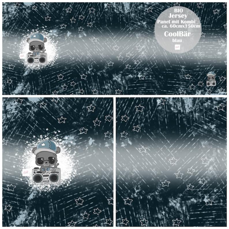 2317 EUR/m Jersey Panel mit Kombi CoolBär blau 60 x 150 cm image 0
