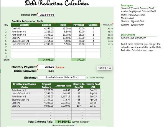Excel debt snowball spreadsheet Debt planner tracker payoff Etsy