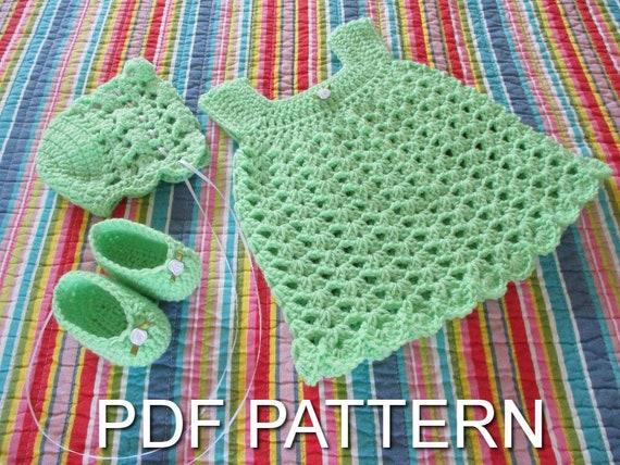 Crochet Baby Dress Set Pattern Crochet Pattern Crochet Dress Etsy